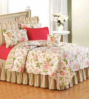 Pink Brianna Floral Cotton  Quilt Queen  Bedding Ensembles Brand C&F