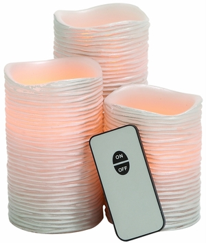 Pinkish Styled Led Wax Candle Remote Set by Woodland Import