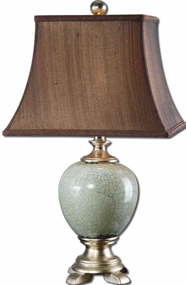 Piovera Rust Blue Table Lamp with Leaf Detailing Brand Uttermost