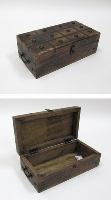 Pirate Chest - Antique Pirate Treasure Chest With Iron Inlaid Brand IOTC