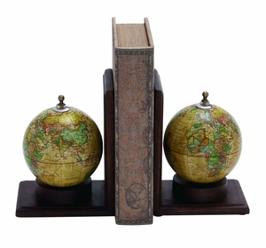 Planet Earth Wooden and Metal Globe Bookend Brand Woodland