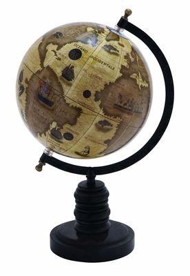 Planet Earth Wooden and Metal Globe in Black Finish Brand Woodland
