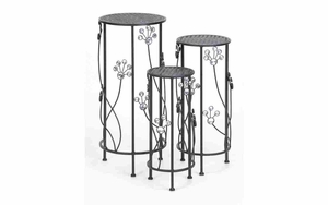 Plant Stand For Patio - Circular Plant Stand With Jewel Decoration - Set of 3 Brand Woodland