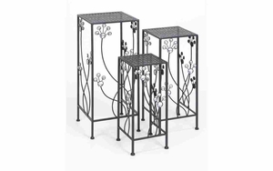 Plant Stand For Patio - Square Plant Stand With Jewel Decoration - Set of 3 Brand Woodland