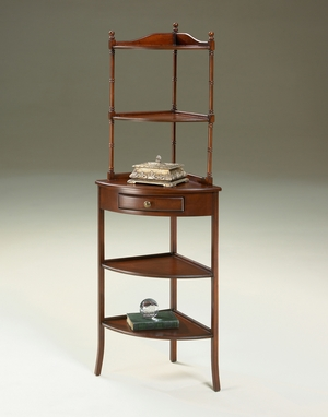 """Plantation Cherry Corner Etagere 21""""W by Butler Specialty"""
