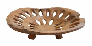 Plate with Hole for Dining Table in Pure Teak Construction Brand Woodland