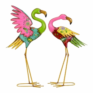 Playful Outdoor Garden Flamingo Sculpture Set With Vibrant Colors Brand Woodland