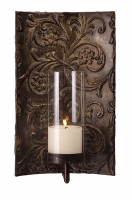 Pleasant Galicia Embossed Metal and Glass Sconce by IMAX