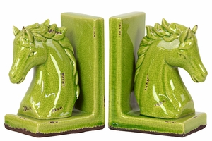 Plymouth Attractive Go Green Horse Bookend by Urban Trends Collection