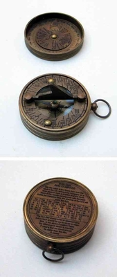 Pocket Sundial Compass With Lid Uniquely Sculptured Nautical Collectable Brand IOTC