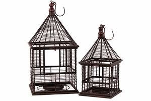 Pointed Roofed Wire & Metal Candle Holder Set of Two w/ Hook Attached