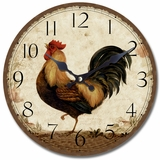Polished Circular Wooden Wall Clock with Rooster Print by Yosemite Home Decor