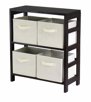 Polished Espresson Capri Wooden 2-Tier Storage Shelf with 4 Baskets by Winsome Woods