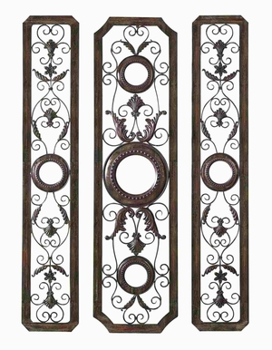 Polished Metal Wall Decor Crafted with Floral Design - Set of 3 Brand Woodland