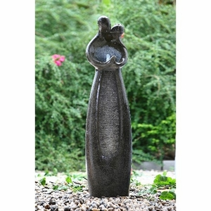 Polished Stone Kissing Couple Sculpture Fountain A Romantic Garden Decor Brand Domani