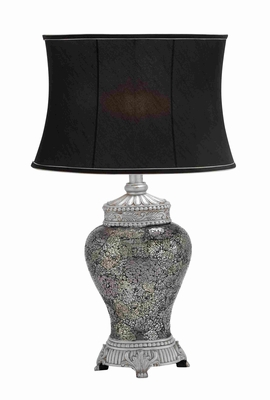 Polished Stone Mosaic Table Lamp in Black with Traditional Appeal Brand Woodland