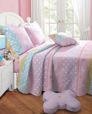 Polka Dot Stripetwin Quilt Set, 68 Inch X 86 Inch Brand Greenland Home Fashions
