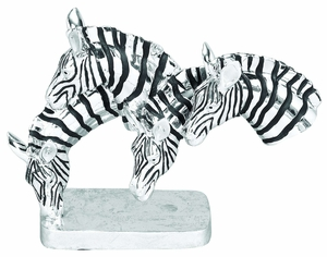 Poly Resin 4 Zebras Drinking Safari Bust Statue Sculpture Brand Woodland