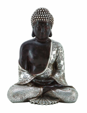 Poly Resin Buddha with Contemporary Design and Fine Detailing Brand Woodland