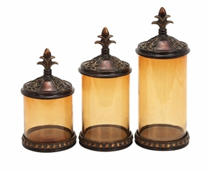 Poly Resin Glass Canister with Intricate Detailing - Set of 3 Brand Woodland