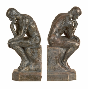 Poly Resin Great Thinker Greek Bookends Statue in Bronze Finish Brand Woodland