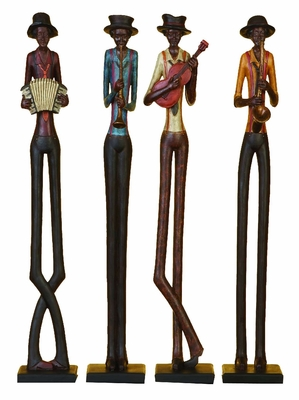 Poly Resin Jazz Band Crafted with Sturdy Design - Set of 4 Brand Woodland