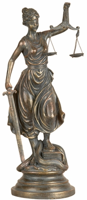 Poly Resin Lady of Justice Statue with Detailing in Bronze Finish Brand Woodland
