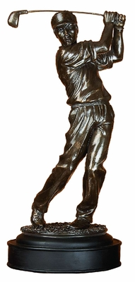 Poly Resin Male Golfer with Detailing in Chocolate Brown Finish Brand Woodland