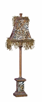Poly Resin Metal Buffet Lamp Designed with Animal Print Brand Woodland