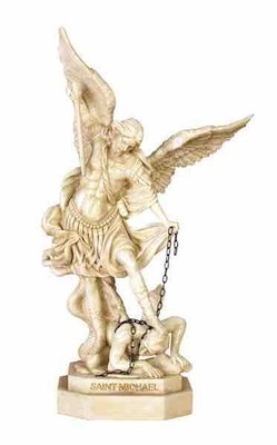 Poly Resin Saint Michael Statue in Octagonal Base with Detailing Brand Woodland