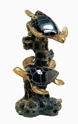 Poly Resin Sea Turtle Crafted with Detailing in Black and Golden Brand Woodland
