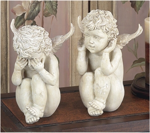 Poly Resin Sitting Garden Angels Cherubs Statue in off White Brand Woodland
