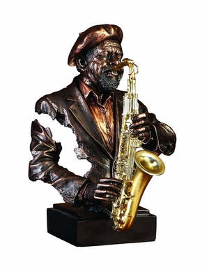 Poly Resin the Sax Man Metal Music Bust Statue Sculpture Brand Woodland