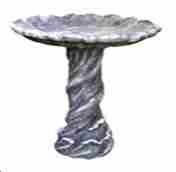 Poly-Resin Twisting Bird Bath Sculptured With Twisted Round Post Brand Domani