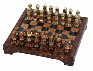 Poly Resin Unique Medieval Chess Set with Game Board - Set of 33 Brand Woodland