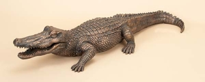 Poly Stone Crocodile Garden Decorative Statue in Bronze finish Brand Woodland