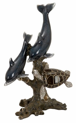 Poly Stone Dolphins and Sea Turtle Cold Cast Statue Sculpture Brand Woodland