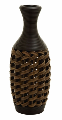 "Polyethylene 24"" Flower Vase In Stylish Wicker Woven Pattern Brand Woodland"