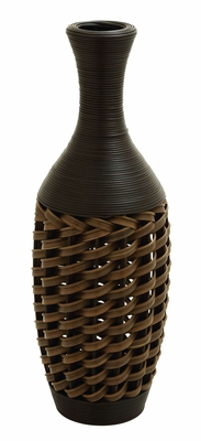 "Polyethylene 32"" Flower Vase In Stylish Wicker Woven Pattern Brand Woodland"
