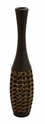 "Polyethylene 40"" Flower Vase In Stylish Wicker Woven Pattern Brand Woodland"