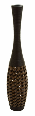 "Polyethylene 47"" Flower Vase In Stylish Wicker Woven Pattern Brand Woodland"