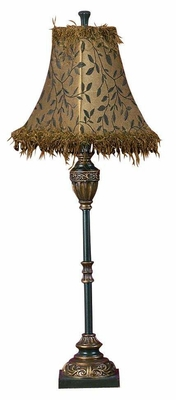 Polyresin Buffet Table Lamp with Shade in Black and Gold - Brand Woodland