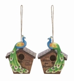 Polystone 2 Assorted Peacock Birdhouse with Beautiful Blend of Colors Brand Woodland