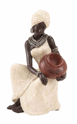 Polystone African Figure Rural African Lady Sitting With A Pot In Hands Brand Woodland