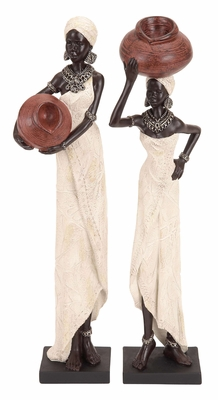 Polystone African Figures 2 Assorted Rural African Ladies With Water Pot Brand Woodl - 44695 by Benzara