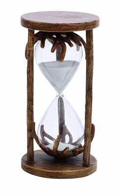 Polystone and Glass 60 min Hourglass with Charming Appeal Brand Woodland