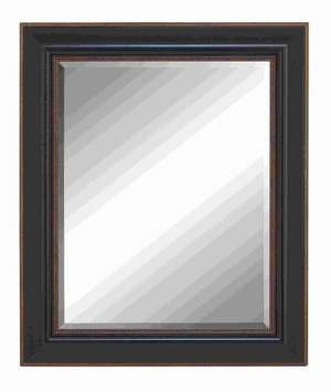 Polystone Beveled Mirror with Saddle Brown Finish & Brown Accent Brand Woodland