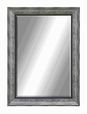 Polystone Beveled Mirror with Textured Grey Black & Black Accents Brand Woodland