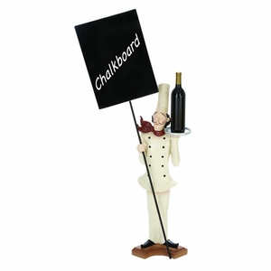 Polystone Blackboard Decor - French Chef Figure With Blackboard Brand Woodland