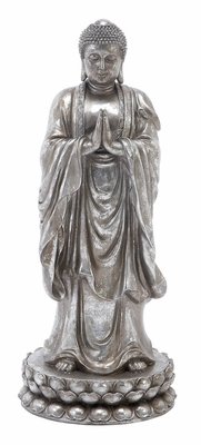 Polystone Buddha Statue, Standing Buddha with Folded Hands, 26 Inch H Brand Woodland